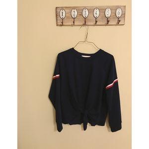 Navy Crew Neck Tie Front Sweatshirt